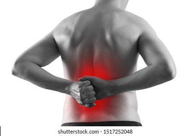 Kidney stones, pain in a man's body isolated on white background, chronic diseases of the urinary system concept, painful area highlighted in red