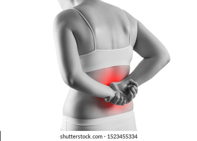 Kidney stones, pain in a woman's body isolated on white background, chronic diseases of the urinary system concept, painful area highlighted in red