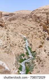 Kidron river valley. Panorama viewed from terrace of Great Lavra of St. Sabbas the Sanctified (Mar Saba) in Judean desert. Palestine, Israel.