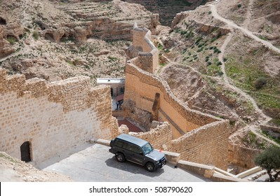 KIDRON VALLEY, ISRAEL - MARCH 5, 2011: Holy Lavra of Saint Sabbas the Sanctified, known in Arabic as Mar Saba