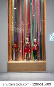 Kids 21 shop at Emquartier Thailand, Dec 25, 2018 : Luxury and fashionable brand window display. Casual Kid clothings and modern interior with colorful background in front of the store.