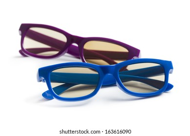kids 3d glasses on white background