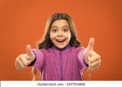 Kids actually like concept. Kid show thumb up. Girl happy totally in love fond of or highly recommend. Thumb up approvement. Girl cute child show thumbs up gesture. Gifts your teens will totally love.