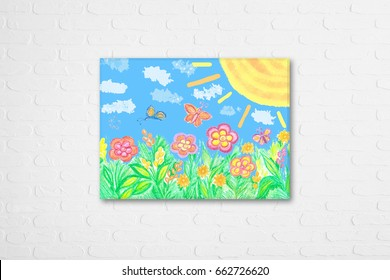 "Kid's art, pencil drawing ""summer fantasy"", frame on white bricks wall, Interior decor mock up for children's area"
