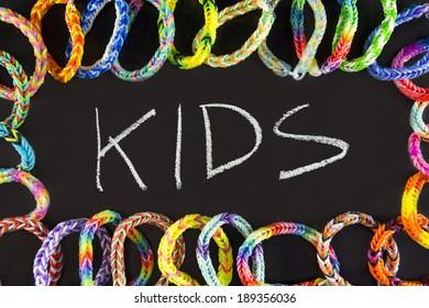 kids background rubber bracelets