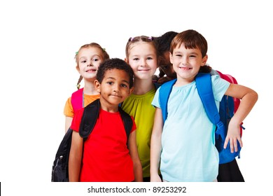 Kids with backpacks in colorful t-shirts