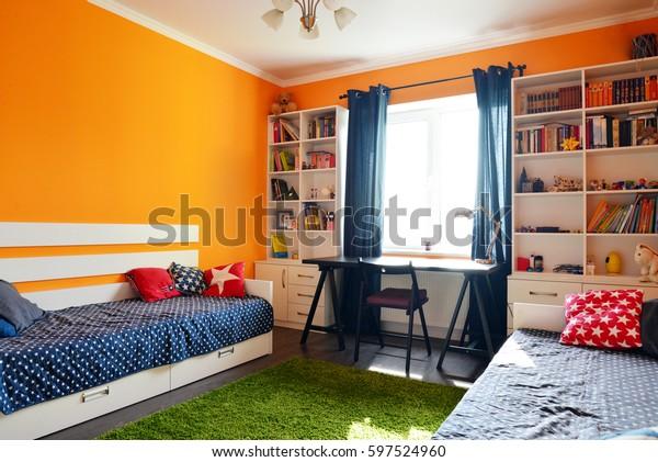 Kids Bedroom Orange Blue Colors Two Stock Photo (Edit Now ...
