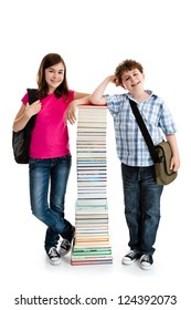 Kids behind pile of books on white background
