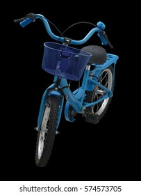 kids bicycle blue colour isolated on black background