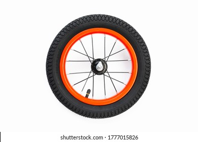 kids bicycle wheel with spokes, white background