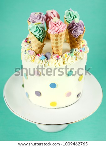Kids Birthday Cake With Ice Cream Cones