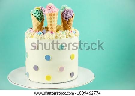 Kids Birthday Cake With Ice Cream Cones