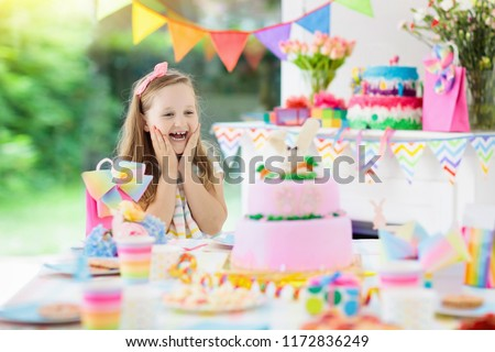 Kids Birthday Party With Colorful Rainbow Pastel Decoration And Bunny Layer Cake Little Girl