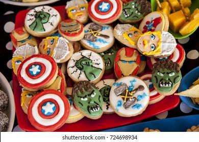 Kids birthday party snacks we made - super hero themed .