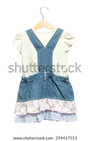 d637103f8c5 Kids blue bid Jeans dress with white shirt back view in clothes hanger