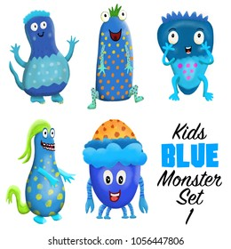 Kids Blue monster set 1. Colorful and cute hand drawn monsters.  Original digital illustrations. Easy to use on a white background.