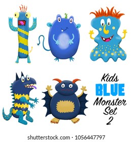 Kids Blue monster set 2. Colorful and cute hand drawn monsters.  Original digital illustrations. Easy to use on a white background.