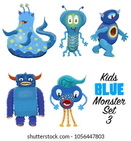 Kids Blue monster set 3. Colorful and cute hand drawn monsters.  Original digital illustrations. Easy to use on a white background.
