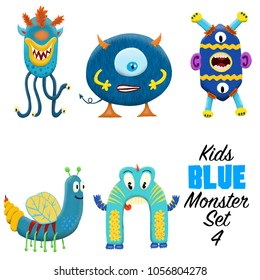 Kids blue  monster set 4. Colorful and cute hand drawn monsters.  Original digital illustrations. Easy to use on a white background.