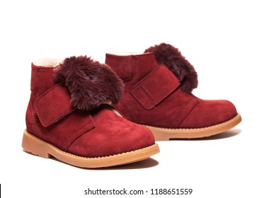 Kid's boots. Children's Autumn or winter fashion isolated on white background. Baby shoes. isolated   - Image