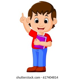 kids boy carrying book cartoon