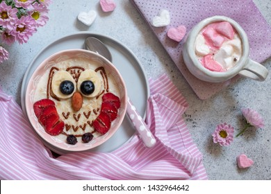 Kids breakfast oatmeal porridge with fruits and nuts look like a owl