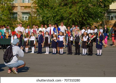Kids celebrating first call at school. Schastye sity. Lugansk region. Eastern Ukraine. Donbass. ATO zone September 1, 2017