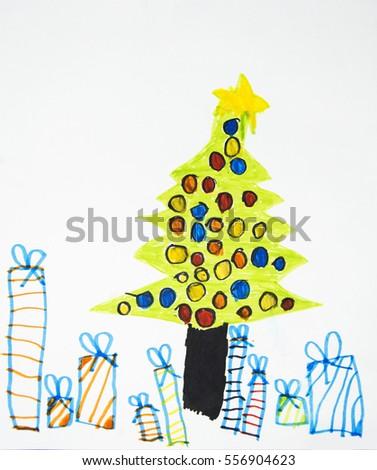 Kids Christmas Tree Drawing Stock Photo Edit Now 556904623
