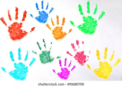 Kids colored hand print on white background