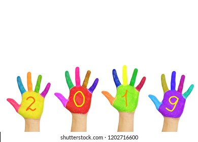 Kids colorful hands forming number 2019. Isolated on white background. Children's joy and happiness. Family fun. The symbol of the new year. Party and holidays concept.