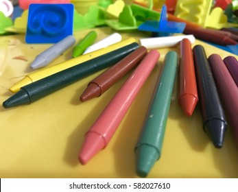 Kids crayons at a kindergarten