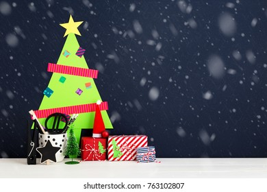 Kids cut out Christmas tree. Christmas wall decoration in kids room.