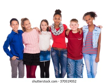 kids with different clothes standing together