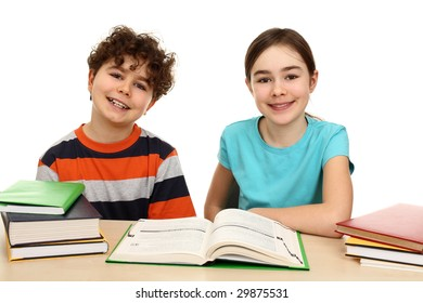Kids doing homework isolated on white background