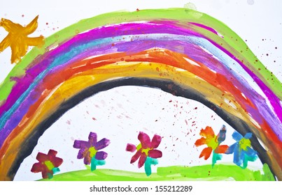 Kid's drawing with flowers and colorful rainbow