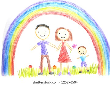 kids drawing happy family picture on the wooden table