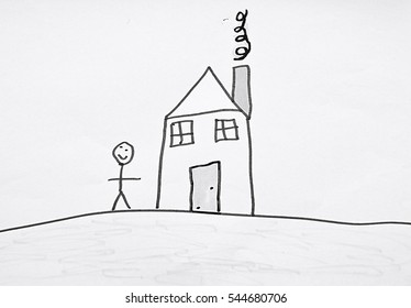 kid's drawing of a house with a person next to it on white background