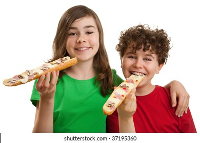 Kids eating sandwiches isolated on white background