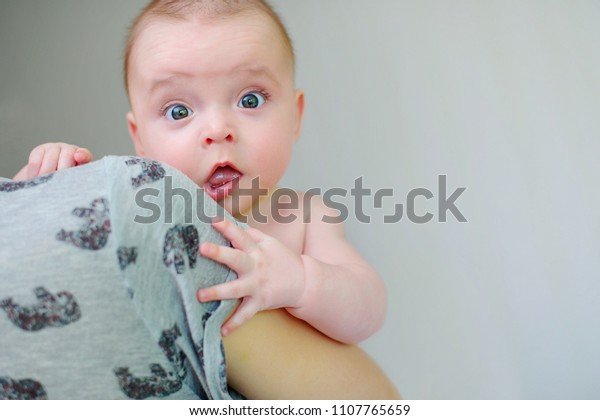 f7322d101 Kids Emotions Surprised Baby On His Stock Photo (Edit Now) 1107765659