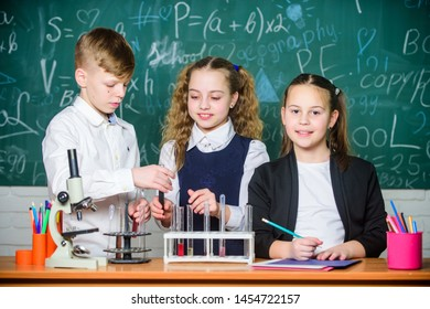 Kids enjoy chemical experiment. Exploring is so exciting. Chemical reaction occurs when substance change into new substances. Pupils study chemistry in school. Chemical substance dissolves in another.