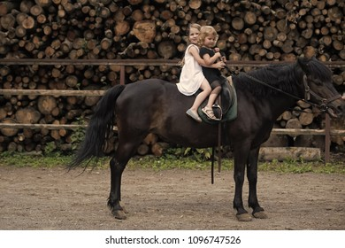 Kids enyoj happy day. Equine therapy, recreation concept. Children sit in rider saddle on animal back. Sport, activity, entertainment. Friend, companion, friendship. Girls ride on horse on summer day