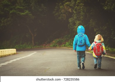 kids go to school - brother and sister walk on the road