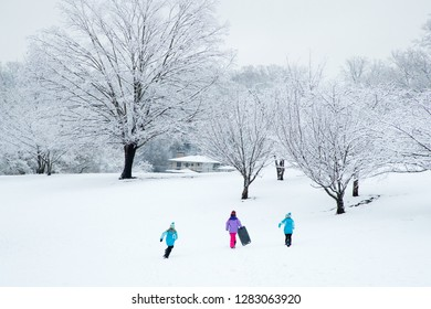 Kids going sledding in winter wonderland
