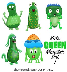 Kids Green monster set 1. Colorful and cute hand drawn monsters.  Original digital illustrations. Easy to use on a white background.