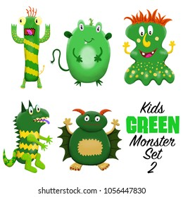 Kids Green monster set 2. Colorful and cute hand drawn monsters.  Original digital illustrations. Easy to use on a white background.