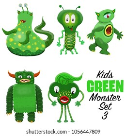 Kids Green monster set 3. Colorful and cute hand drawn monsters.  Original digital illustrations. Easy to use on a white background.
