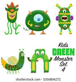 Kids Green monster set 4. Colorful and cute hand drawn monsters.  Original digital illustrations. Easy to use on a white background.