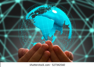 kid's hand holding  globe in  dark background