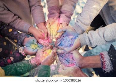kids hands in holy festival