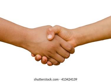 kids handshake isolated on white background